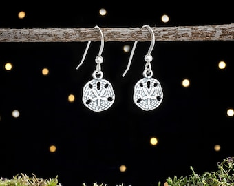 Sterling Silver Tiny Sand Dollar Earrings