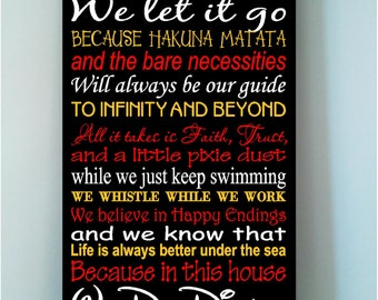 Personalized Family Rules We Do Disney wooden subway art sign mulitcolor style-In this house we let it go because..
