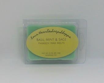 Wax melt, wax tart, clamshell wax melt, Basil Mint & Sage, wax warmer, soy wax