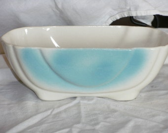 Vintage Ivory and Blue footed Console bowl