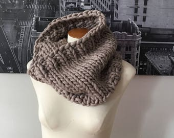 hand-knit chunky cowl - wheat