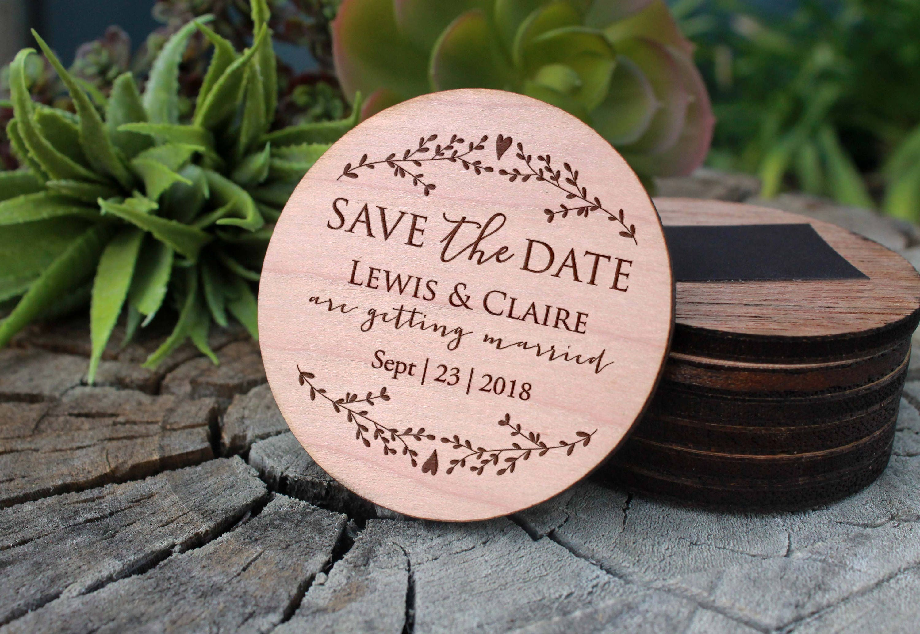 Save The Date Magnet Wood Save The Date Custom Wood Save The