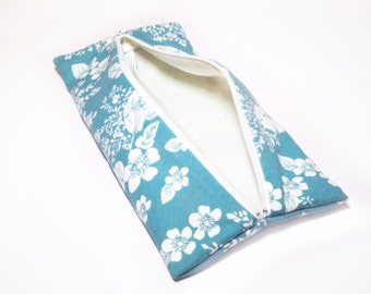 Blue Flower Patterned Flat Makeup or Pencil Case