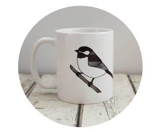 Chickadee Coffee Cup, Bird Mug, Ceramic Coffee Mug, Ceramic Cup, Sublimated Drink-wear, Black and White, Wildlife Cup Gift For Birder Spring