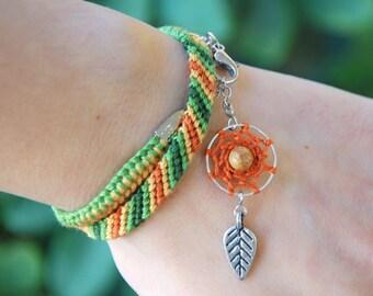 Jasper Dreamcatcher Bracelet, Yelow native jewelry, Bohemian stone, Boho dream catcher, Orange fiber tribal wrap, Green ethnic feather charm
