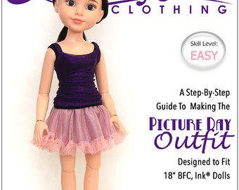 Pixie Faire Liberty Jane Picture Day Outift Doll Clothes Pattern for 18 inch BFC, Ink. Dolls - PDF