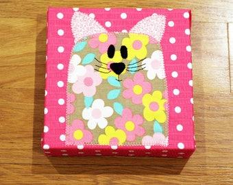 Pink Flower Cat - Nursery Wall Art - Toddler Room Wall Art - Fabric Canvas Print