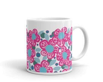 Coffee Mug Pink Flower drinkware kitchen dining