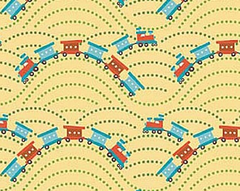 Scoot Trains Yellow - C2725 by Riley Blake Designs  - you pick the cut