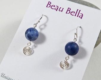 Sodalite Earrings, Dangly Spiral Earrings, Sterling Silver, Indigo, Meditation Stone, Healing Crystal, Wirework, OOAK, Blue Gemstone Earring
