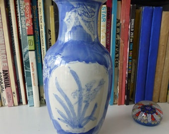 Pretty Blue And White Hand Painted Floral Vase