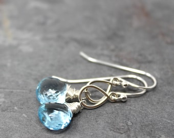 Blue Topaz Earrings November Birthstone Blue Gemstone Briolette Sterling Silver Dangle Earrings Teardrop