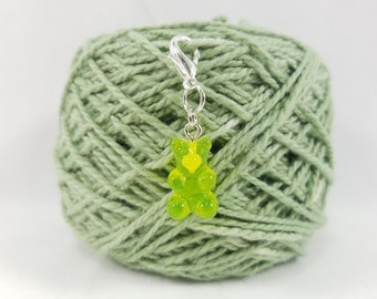 Lime Green Gummy Bear Lobster Clasp Stitch Marker, Progress Keeper, Zipper Pull, Stitch Keeper, Dangle Charm