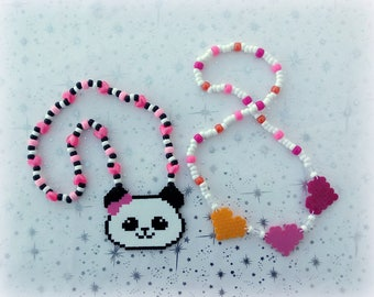 M2MG Made to Match Gymboree Panda Academy Hearts Perler Bead Girls Child's Kandi Necklace