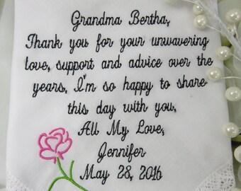 Grandmother Embroidered Wedding Handkerchief