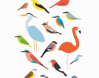 A5 Birds Print