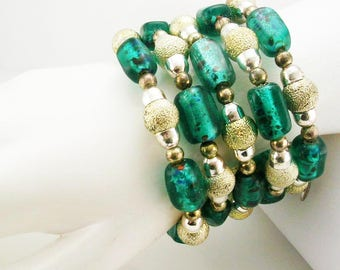 "Joan Rivers Beaded Coil Bracelet  2"" wide"