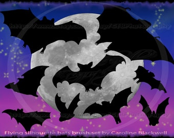 Bat silhouette photoshop brushes by Caroline Blackwell.