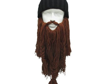 The Mens Bearded Beanie Extra Long Beard Cosplay Hat Set