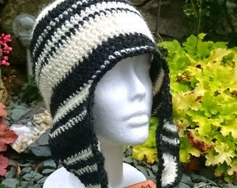 Crochet 'Lava and Snow' Icelandic trapper hat made from 100% Icelandic lopi wool. Ideal stylish accessory for winter or autumn