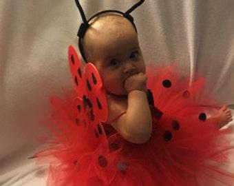 Girl Ladybug Halloween costume, Girls red Ladybug costume,Ladybug leggings, Ladybug wings,Ladybug headband, Baby girl Halloween costume