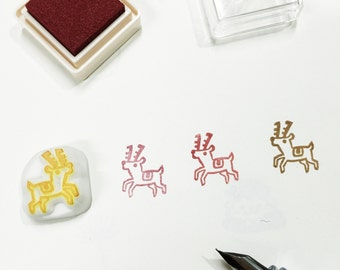 tiny reindeer hand carved rubber stamp.reindeer rubber stamp.