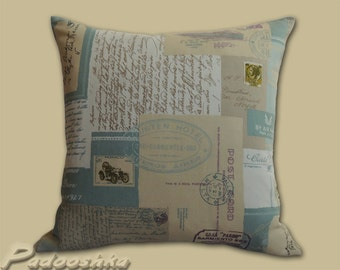 Postcard pillow cover Vintage postcard cushion cover Script pillow case Shabby chic blue throw pillow cover Cotton pillow sham Bedroom decor