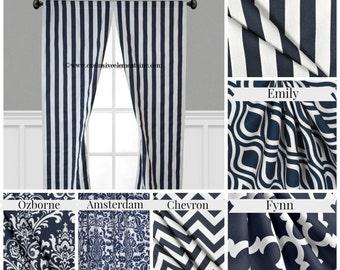 Navy Blue Curtain Panels Modern Geometric Chevron Damask Stripe Drapery Window Treatments Set Pair