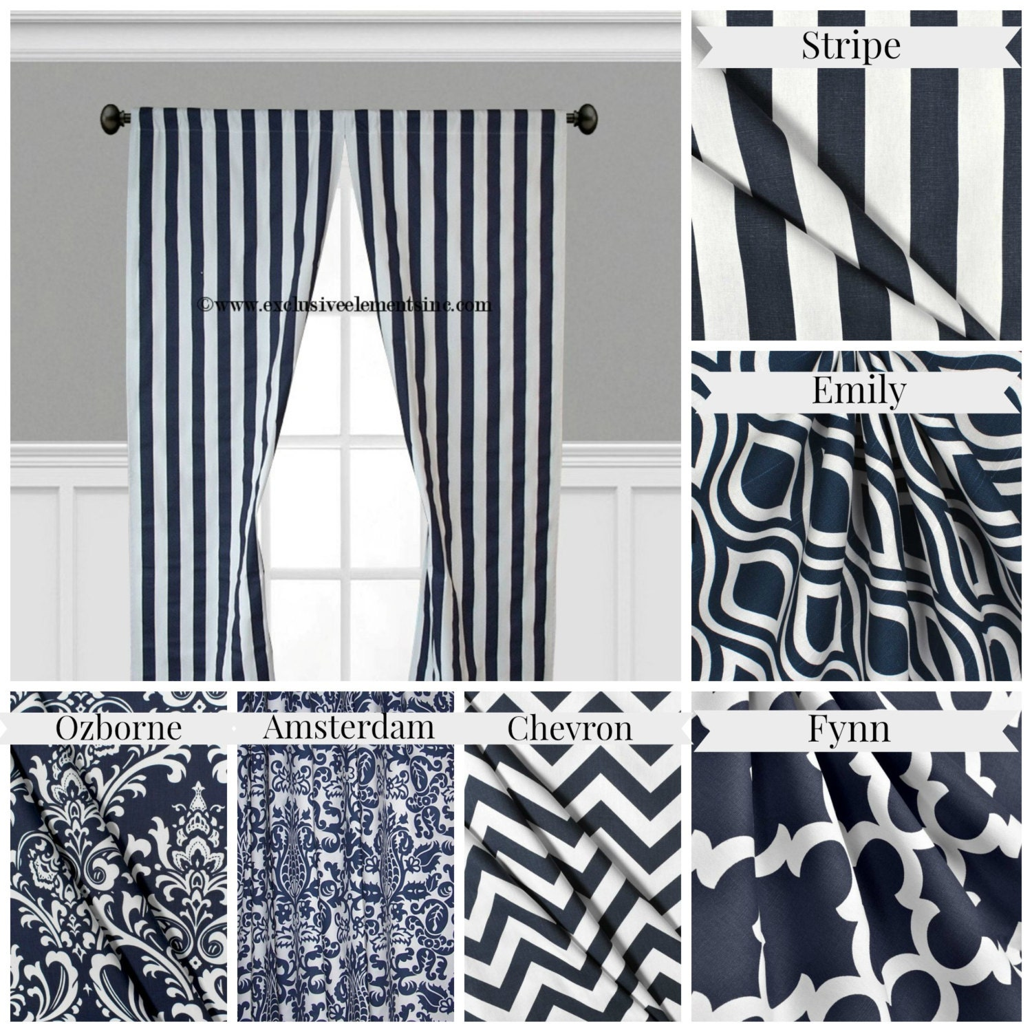 Navy Blue Curtain Panels Modern Geometric Chevron Damask