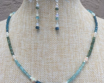 Ethiopian Opal, Neon and Aqua Apatite, sterling silver necklace and earring set
