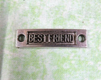 "Antique Silver Bar Link ""Best Friend""  35x9.5mm (B37e1/e2)"