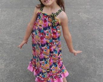 Tenue d'anniversaire Smocked robe d'été à volants Robe maxi top, tissu imprimé de super héros, robe à smocks enfant, robe enfant en bas âge smocks