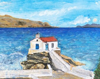 Acrylic painting of the Greek Island Andros