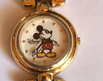 """Disney Mickey Mouse watch with gold band 7.5"""" Long"""