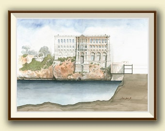 PRINT- Oceanographic Museum Monaco - Architecture print - Architectural drawing art wall - watercolor print - Art Print by Juan Bosco