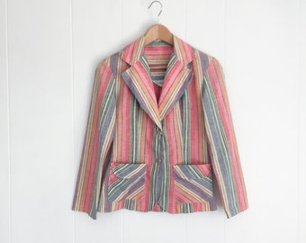 Vintage Blazer - Kids Blazer - Cotton Jacket - Childrens Clothing - Striped Blazer - Boho Jacket - Cotton Blazer - Vintage Kids Clothes