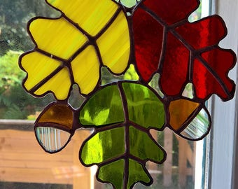 Oak Leaves Stained Glass Suncatcher