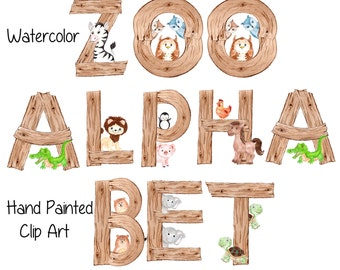 "Animal alphabet clipart: ""ZOO ALPHABET"" wood alphabet Animal Letters watercolor alphabet animal fonts PNG Alphabet  Kids Animal Alphabet"