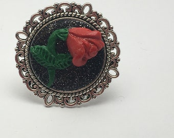 Red Rose, Round Polymer Clay Ring, OOAK Ring