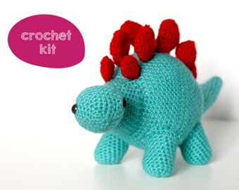 Easy Crochet Kit. Stanley the Stegosaurus Dinosaur Crochet Kit. Beginner Crochet Kit.