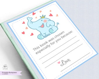 Printable Bookplates,Book Plates,Baby Shower Bookplate,INSTANT DOWNLOAD,Bookplates,Elephent,blue,Book-themed,baby shower,mokileArt