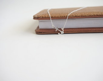 Tiny Hammered Sterling Silver Anchor Necklace, Sideways Anchor Necklace, Nautical Necklace, Minimalist, Sterling Silver Layer Necklace