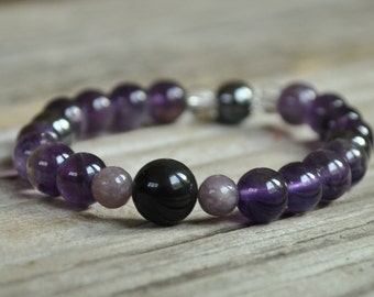 Mens Addiction Mala Bracelet, Obsidian, Lepidolite, Hematite, Amethyst, Crystal Healing, Meditation, Yoga Bracelet Gemstone Therapy