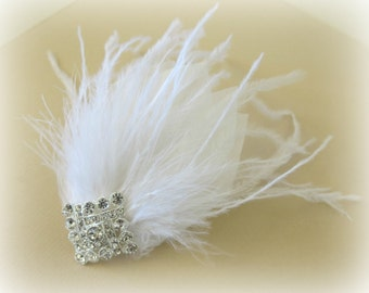 Feather Bridal Headpiece, Great Gatsby Wedding,1920s,Ostrich, White, Bridal Head Piece, Feather Fascinator,