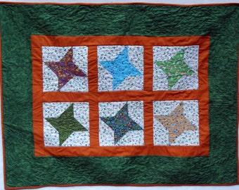 Handmade baby quilt - Green Friendship Stars
