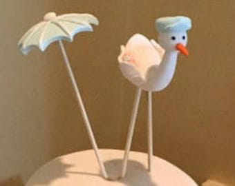 Fondant Baby and a Stork Cake Topper New Baby Arrival Baby Shower Newborn