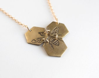 Bee Necklace - Bee Pendant - Hexagon Necklace - Geometric Jewelry - Honeycomb Necklace - Bee Jewelry - Etched Jewelry - Queen Bee