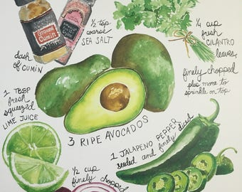 Guacamole Recipe Painting 11x14""