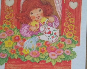 Vintage Greeting Card - Current Valentine Card  - Pam Peltier  - Girl Watering Flowers in Windowbox