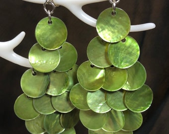 Green shell chandelier earrings